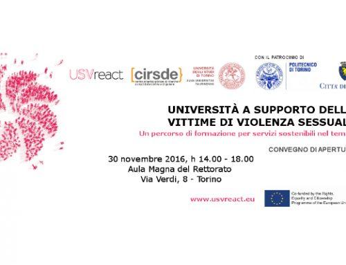 Torino, 30 novembre 2016: Università a supporto delle vittime di violenza sessuale