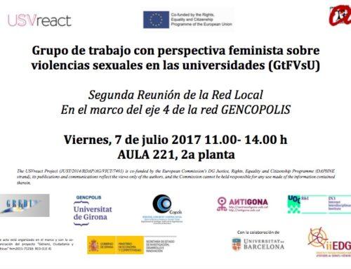 """Segona Reunió de la Xarxa Local """"Grup de treball amb perspectiva feminista sobre violències sexuals a les universitats"""""""