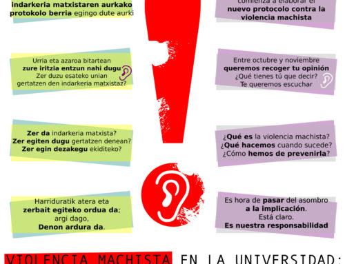 UPV/EHUn indarkeria matxisten aurkako protokolo berria sortzeko prozesua martxan!