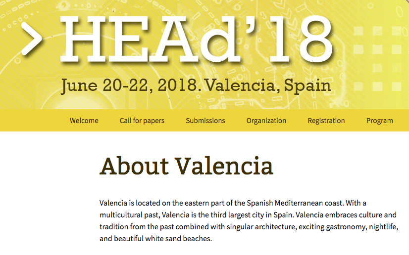 June 20-22, 2018. Valencia, Spain – HEAd'18: Call for Papers  4th International Conference on Higher Education Advances