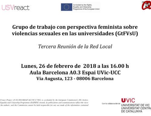 """Tercera Reunión del """"Grupo de trabajo con perspectiva feminista sobre violencias sexuales en las universidades (GtFVsU)"""""""