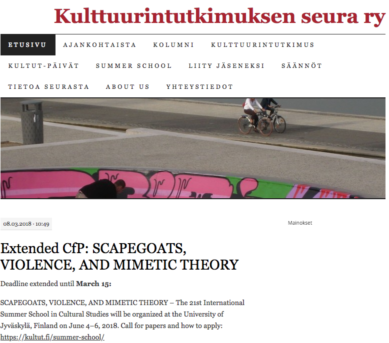 21st INTERNATIONAL SUMMER SCHOOL IN CULTURAL STUDIES / SCAPEGOATS, VIOLENCE, AND MIMETIC THEORY