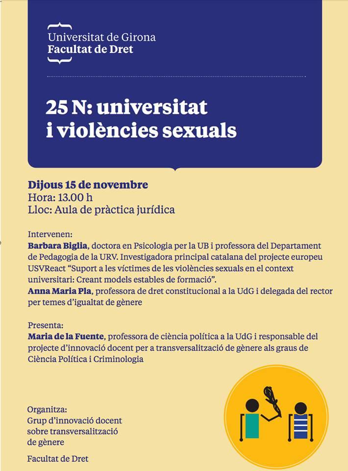 """Participem a la jornada 25N: universitat i violències sexuals"""" a la Universitat de Girona"""